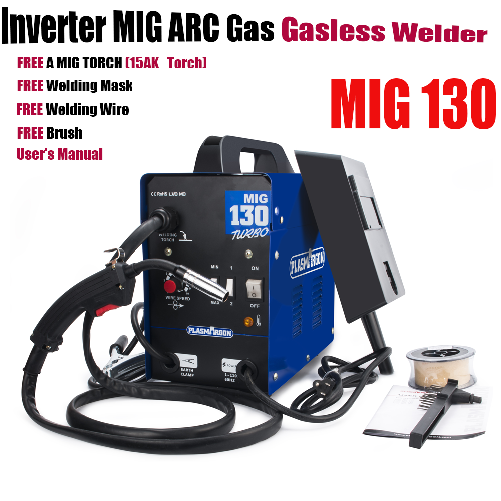 Plasmargon Mig 130 110v,220v Inverter MIG ARC Gas Gasless Welder  Machine,welder Device Free Accessrioes