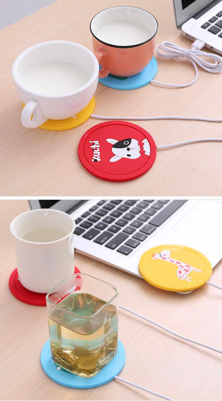 Voeding Office Usb Cartoon Koffiekopje Thee Warmer Elektrische Kachel Verwarming Zachte Rubber Coaster Protector Anti Warmte Winter