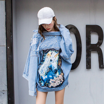 Women Pearl Beading Short Denim Jackets blue Wash Long Sleeve Jean Coat Casual Loose Jacket street Bomber
