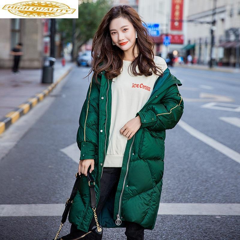 Women's Down Jacket Oversize Winter White Duck Down Coat Hooded Warm Puffy Jacket Korean Long Parka 95814 YY1215