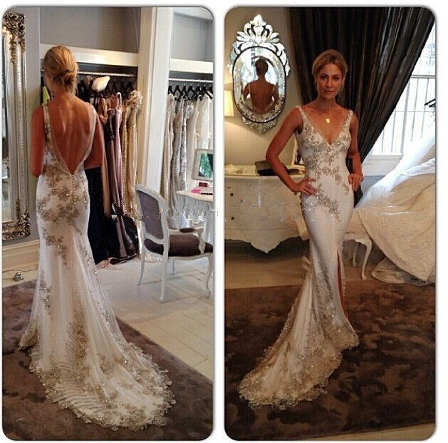 Mermaid 2018 Sexy Deep V-Neck Sleeveless Backless Bridal Gown Vestido De Noiva Off The Shoulder Mother Of The Bride Dresses
