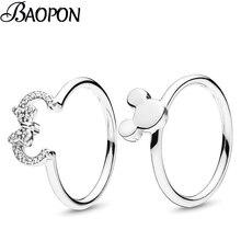 Модное серебряное кольцо с изображением Микки и Минни, кольца на палец с кристаллами, изящные кольца для женщин, свадебный подарок на Рождество