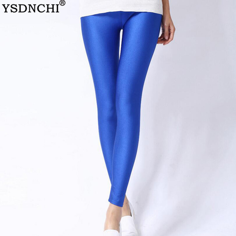 YSDNCHI Fitness Leggings Elastic Hot Sale Mid Waist Summer Workout Leggins Trousers Casual Legging Milk Silk Candy Color