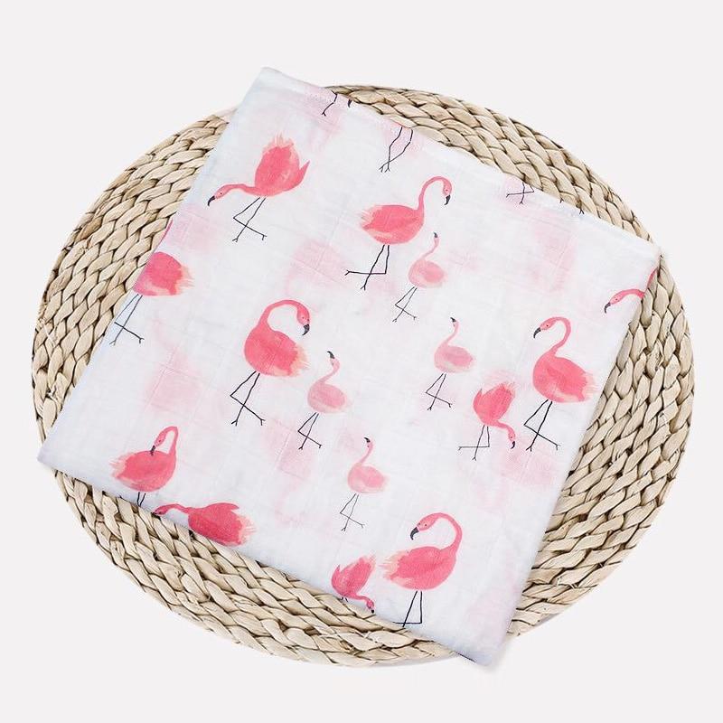 1 шт., муслин, хлопок, детские пеленки, мягкие одеяла для новорожденных, для ванной, марля, Детская накидка, спальный мешок, чехол для коляски, игровой коврик - Цвет: Flamingo