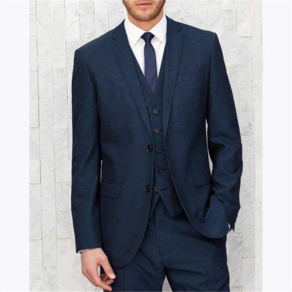 New Classic Men's Suit Smolking Noivo Terno Slim Fit Easculino Evening Suits For Men  Navy Blue Groom Man Tuxedo Wedding