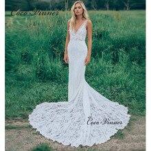 Illusion V Yaka Kolsuz Işlemeli Dantel Net Mermaid Seksi Backless gelin kıyafeti Şapel Tren Elbise Düğün için W0447