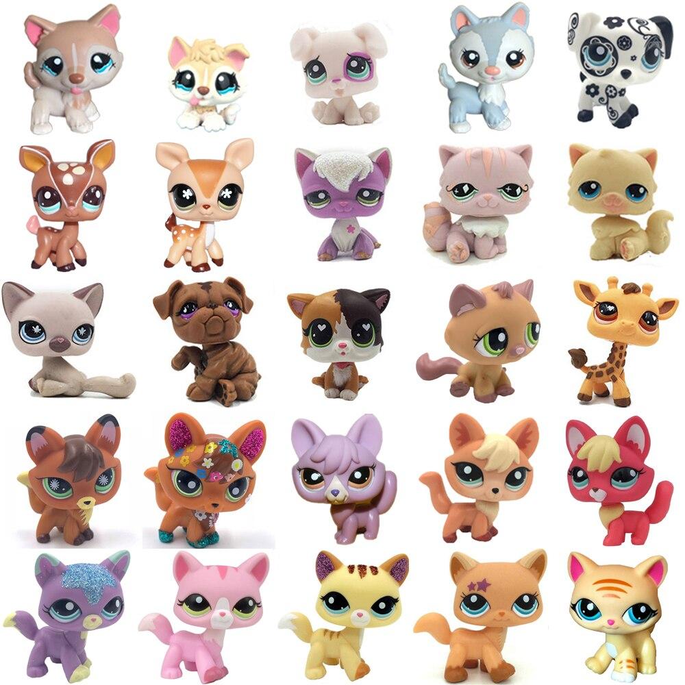 Rare Pet Shop Cute Toys Stands Short Hair Cat Original Kitten Husky Puppy Dog Fox Animal Old Collection Figures