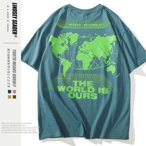 Женская футболка, Мужская Уличная Футболка с принтом карты мира, мужские повседневные футболки в стиле хип-хоп, панк-рок, футболки с коротки...