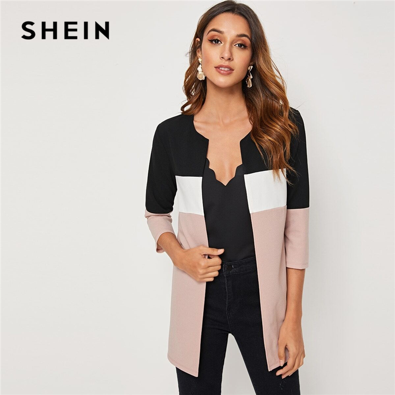 SHEIN Colorblock Round Neck Cut And Sew Open Front Basic Coat Women 2019 Autumn 3/4 Length Sleeve Ladies Casual Outwear Coats title=