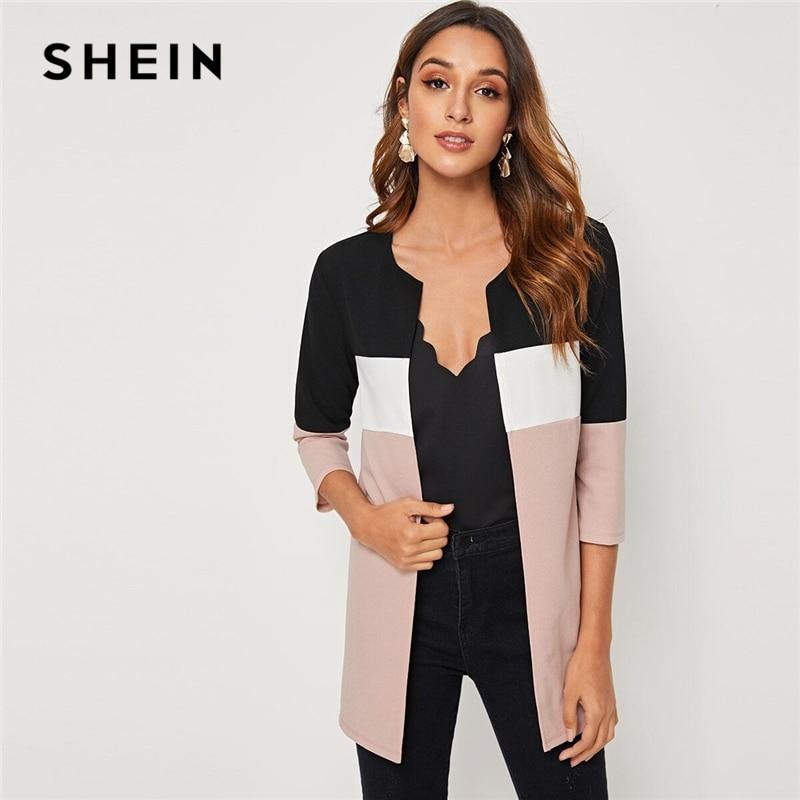 SHEIN Colorblock Round Neck Cut And Sew Open Front Basic Coat Women 2019 Autumn 3 4 Innrech Market.com