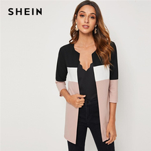 SHEIN Colorblock Round Neck Cut And Sew Open Front Basic Coat Women 2019 Autumn