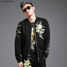 AreMoMuWha Autumn and Winter New Mens Hip Hop Printed Jacket Korean Rose Gold Stamped Sports Jacket Sweatshirt Mens QX1371