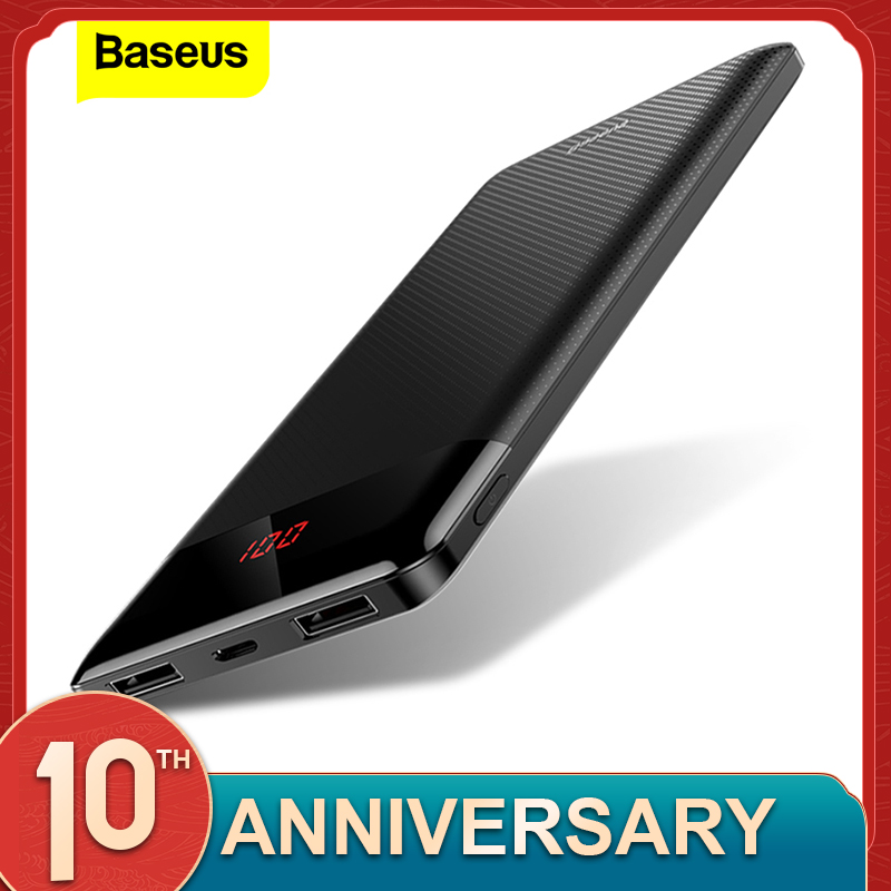 Baseus Slim 10000mAh Power Bank 10000 USB LCD Powerbank Portable External Battery Pack Charger Mobile Phone Poverbank For Xiaomi