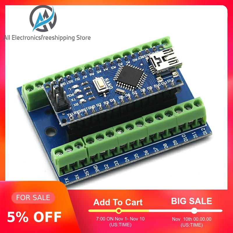 1pcs NANO V3.0 3.0 Controller Terminal Adapter Expansion Board NANO IO Shield Simple Extension Plate For Arduino AVR ATMEGA328P