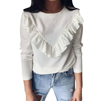 New 2020 Women Ruffled Solid Round Neck Shirt Hot Sale Casual Spring Autumn Long-sleeved T-shirt Women Ruffled Top Shirt 2019 autumn new european and american women s personality stitching ruffled long sleeved round neck slim bag hip dress