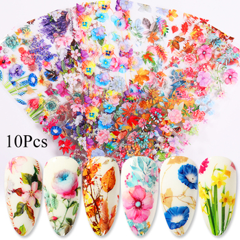 10 Pcs Rose Flowers Nail Foils Tropical Leaves Colorful Nail Decals Transfer Decorations Sets for Manicuring DIY Sticker Slide 24