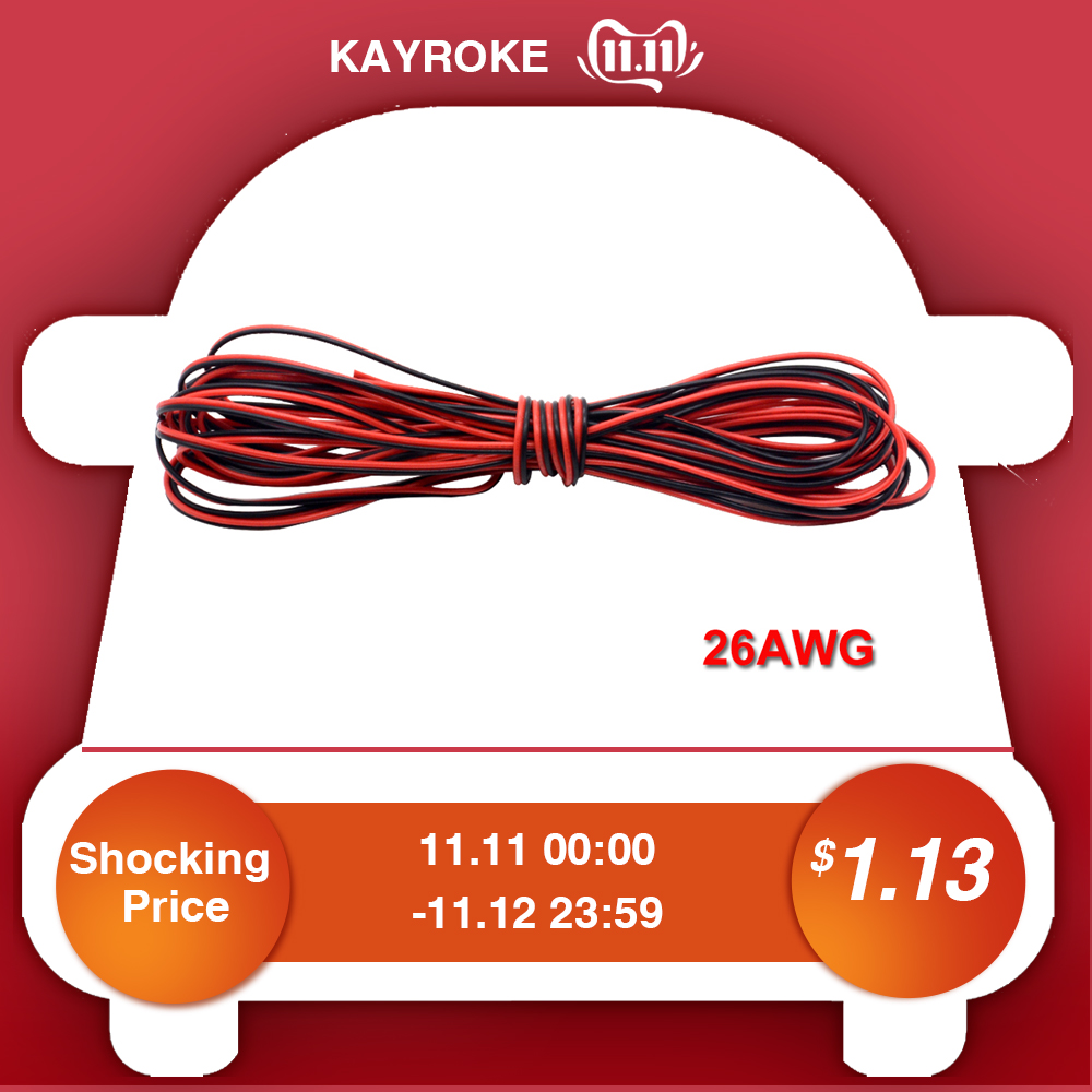 5M/Lot Red Black 2Pins 26AWG LED Extension Thinned Copper Wire Cable With Wire Cross-section 0.1 PVC Insulated Wire For Car