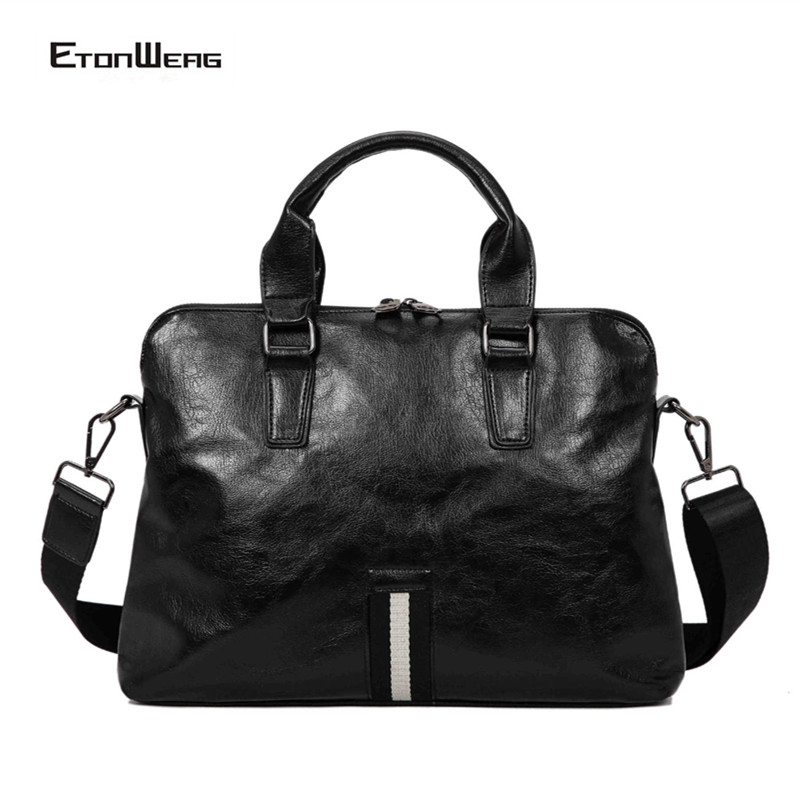 Men Business Office Briefcase Luxury Brand PU Leather Handbag Women Computer Laptop Bag Male Multifunction Casual Tote 2019