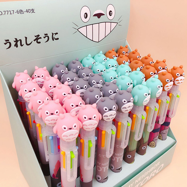 1PC 6 Colors In 1 Ballpoint Pens Cute Totoro Pens Kawaii Multicolor Ball Pens For Kids Gift School Office Supplies Stationery 1