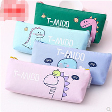 Case Pencil-Bag Stationery-Organizer Pen-Pouch Dinosaur Large-Capacity Cute Canvas Office