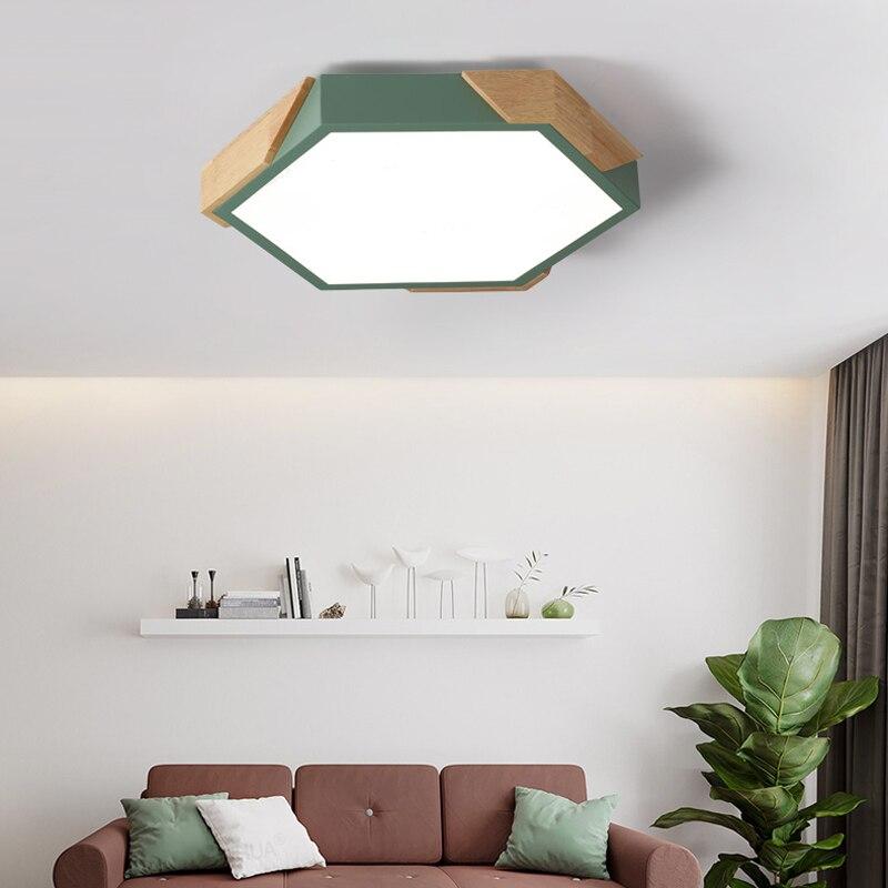 Lampe de chambre led nordique macarons hexagonaux couleur bois chambre d'enfant lampe chambre simple lampes maternelle