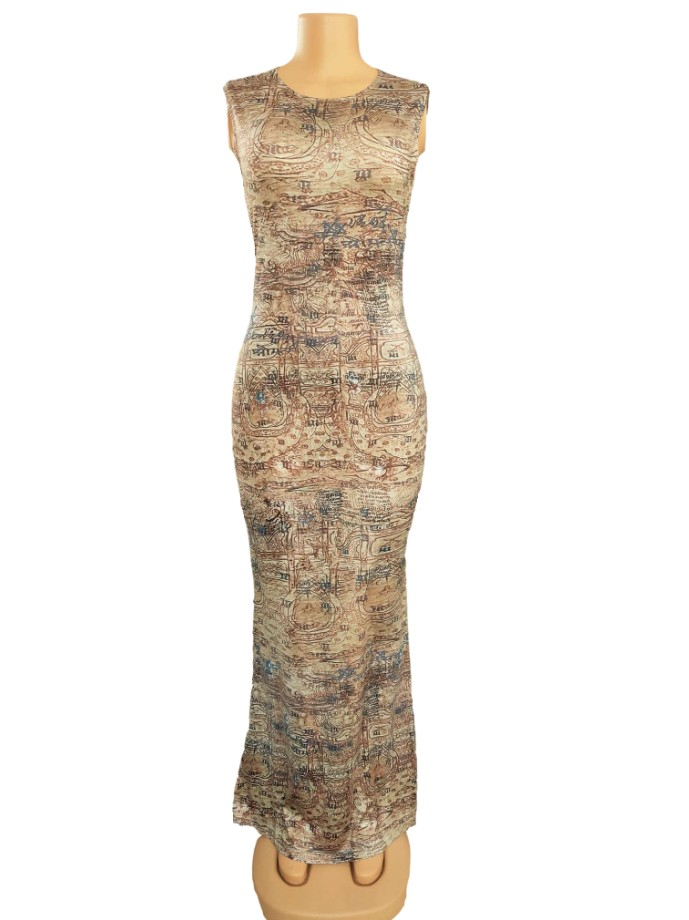Bodycon Dresses 2020 Sexy Bandage Sleeveless Pencil Vintage Retro Africa Evening Party Long  Dresses Ladies 70s hippie Clothes 3
