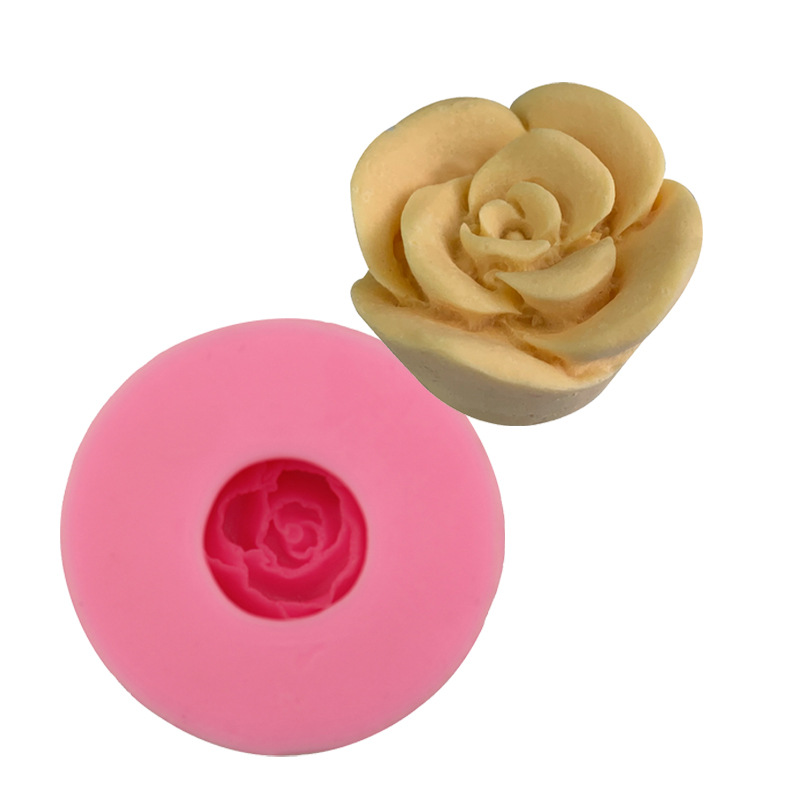 3D three dimensional rose flower silica gel mold, sugar turning chocolate cake baking mold, gypsum dropping glue soap mold