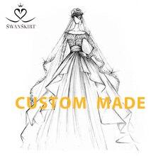 Vestidos de casamento moda cetim sereia trem elegante fora do ombro princesa vestido de noiva swanskirt i320 personalizado vestido de novia