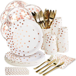 Paper-Plate Birthday Rose-Gold Cutlery-Set Party-Toys Dot 168pcs/Set Disposable Baby