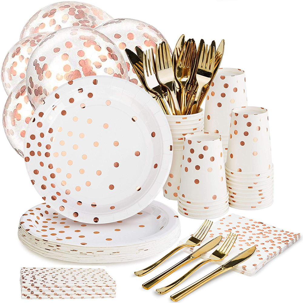 168pcs Rose Gold Paper Party Supplies Set Disposable Paper Plate Cutlery Set Rose Gold Dot Hot Stamping Plate Theme Party Supply