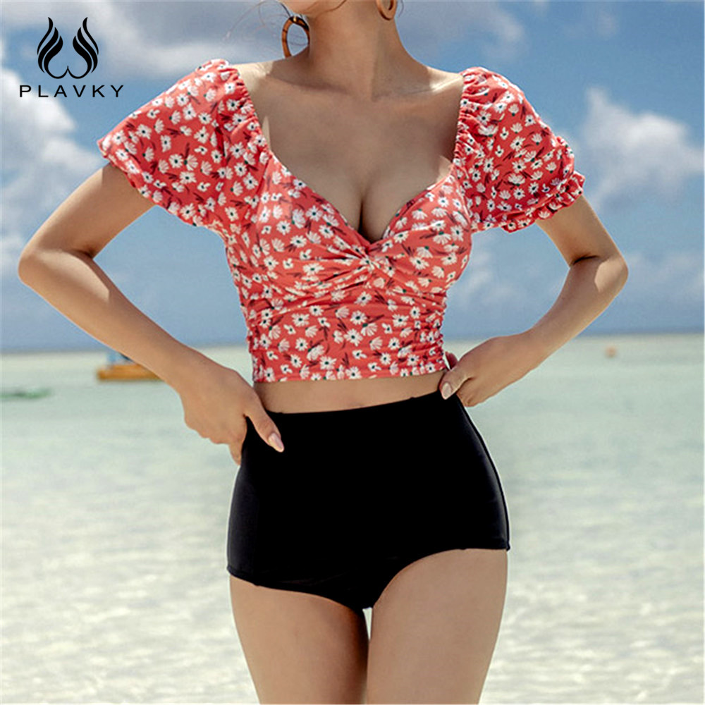 Sexy Retro Vintage Puff Short Sleeve Floral High Waist Bikini 2020 Cropped Swimsuit Women Swimwear Beach Wear Swim Bathing Suit