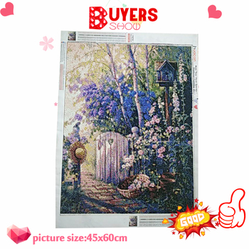 HUACAN Diamond Painting Landscape Cross Stitch Diamond Embroidery Full Set Scenery Beaded Painting Diamond Art