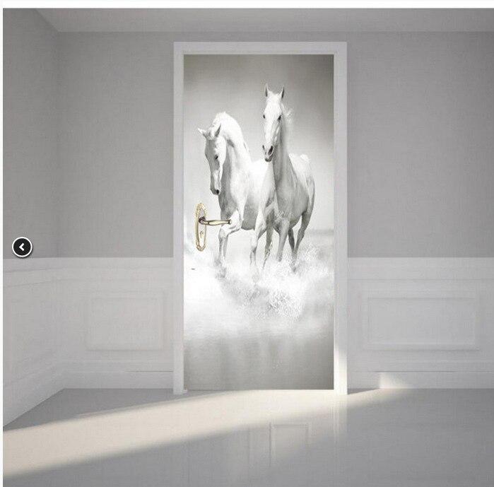 White Horse Poster Waterproof Door Sticker Creative Stickers Door Wall Sticker Mural Bedroom Home Decor