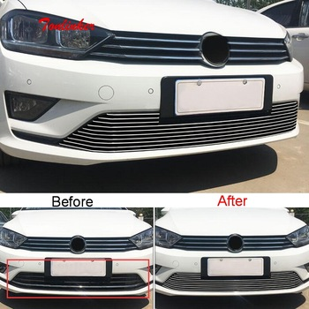 Tonlinker 1 PCS DIY car styling stainless steel front Racing grills cover case Stickers for Volkswagen GOLF 7 parts accessories