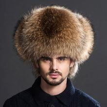 Inverno dos homens 100% real prata pele de raposa aviador bombardeiro chapéu de pele de guaxinim ushanka boné trapper russo homem chapéus de esqui bonés de couro real