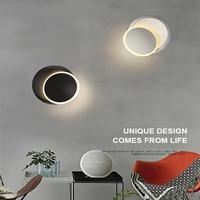 2021 LED Wand Lampe 360 grad rotation einstellbar nacht leuchten weiß Schwarz kreative wand lampe Schwarz moderne gang runde lampe