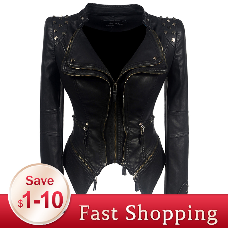 2019 Coat HOT Women Winter Autumn Black Fashion Motorcycle Jacket   Outerwear faux leather PU Jacket Gothic faux leather coats