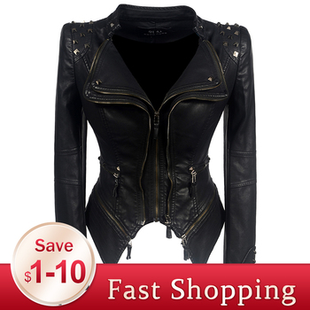 2020 Coat HOT Women Winter Autumn Black Fashion Motorcycle Jacket Outerwear faux leather PU Jacket Gothic faux leather coats gothic women coat black fashion motorcycle outerwear faux leather pu jacket zipper slim plus size young girl spring hight street