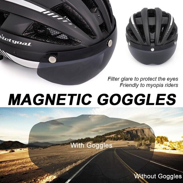 Victgoal mtb capacete da bicicleta moutain estrada usb recarregável backlight ciclismo capacete viseira sol polarizado óculos de proteção luz da bicicleta capacetes 3