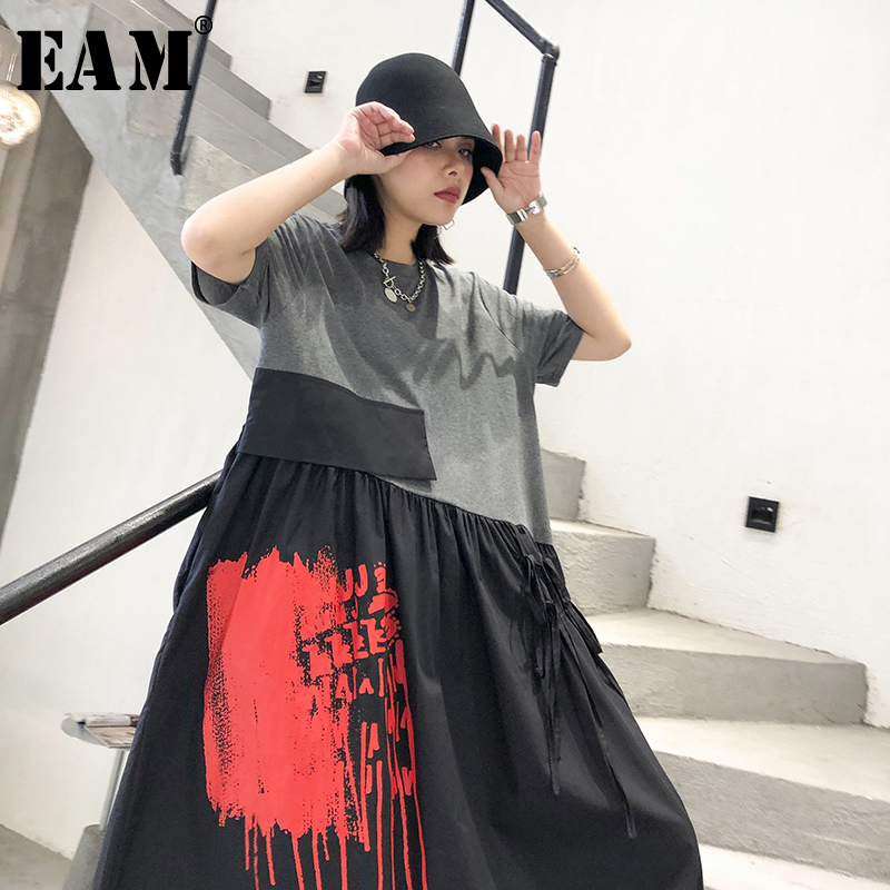 [EAM] Women Gray Pattern Printed Temperament Dress New Round Neck Short Sleeve Loose Fit Fashion Tide Spring Summer  2020 1T576