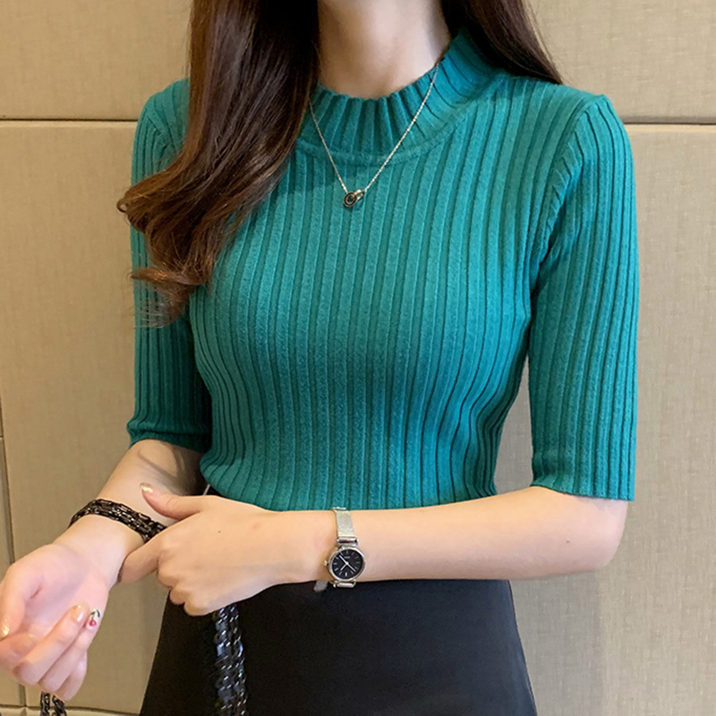 Pullover Knitted Half Sleeve Knitted Sweater Women New Spring Slim Basic Solid Casual Base Female Knitting Shirts 2020 Korea