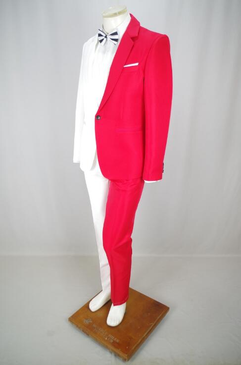 wedding : Jacket   pants new Red white suit luxury personality suits male party blazers men wedding suit men fashion slim graduation coat