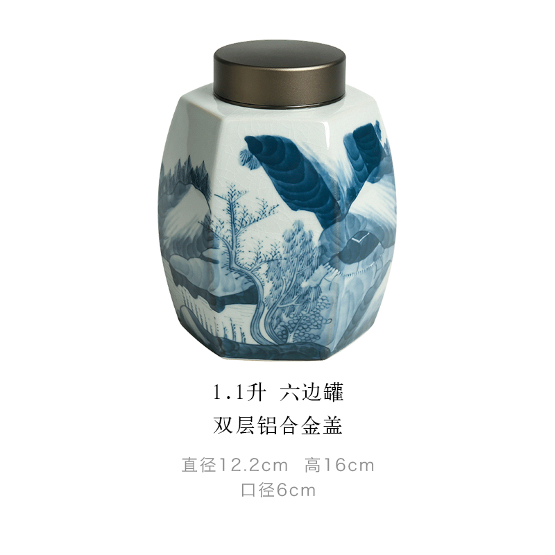 Blue and White Porcelain Tea Pot in Chinese Antique Style Half Jin Two Liang Household Tea Container Zen Retro Hexagonal
