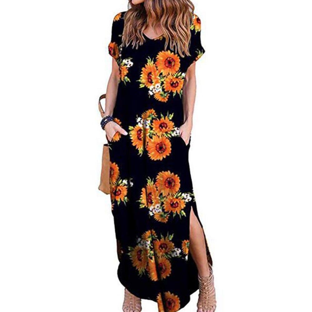 GRECERELLE Women's Casual Loose Pocket Long Dress Short Sleeve Split Maxi Dresses 6