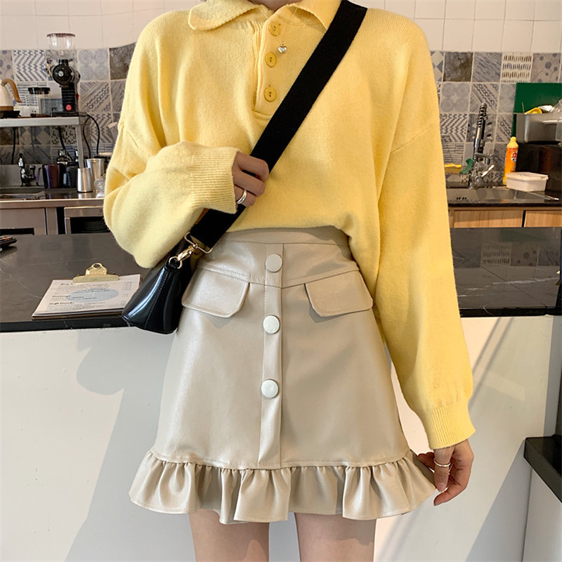 Photo Shoot Korean High-waisted Versatile Frilled PU Leather Weep Yafeng Sheath A- Line Short Skirt 902275