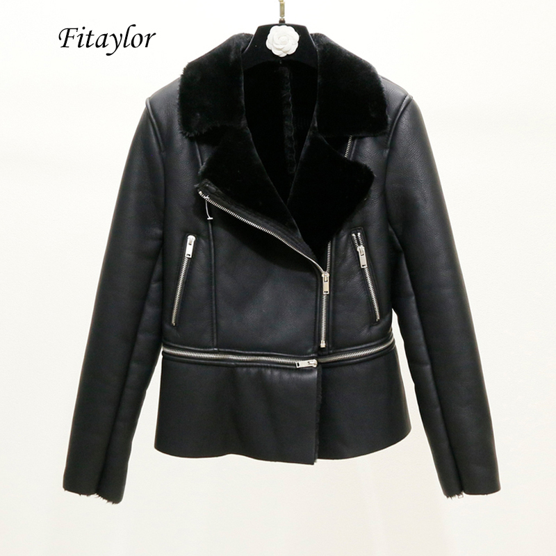 Fitaylor 2020 New Winter Women Sheepskin Coats Thicken Faux Leather Lamb Fur Jackets Hem Detachable Motorcycle Zipper Outerwear