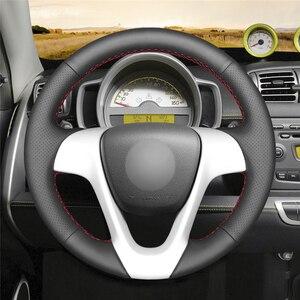 MEWANT черный удобный чехол рулевого колеса автомобиля из натуральной кожи для Smart Fortwo 2009-2013 Smart Forjeremy 2013