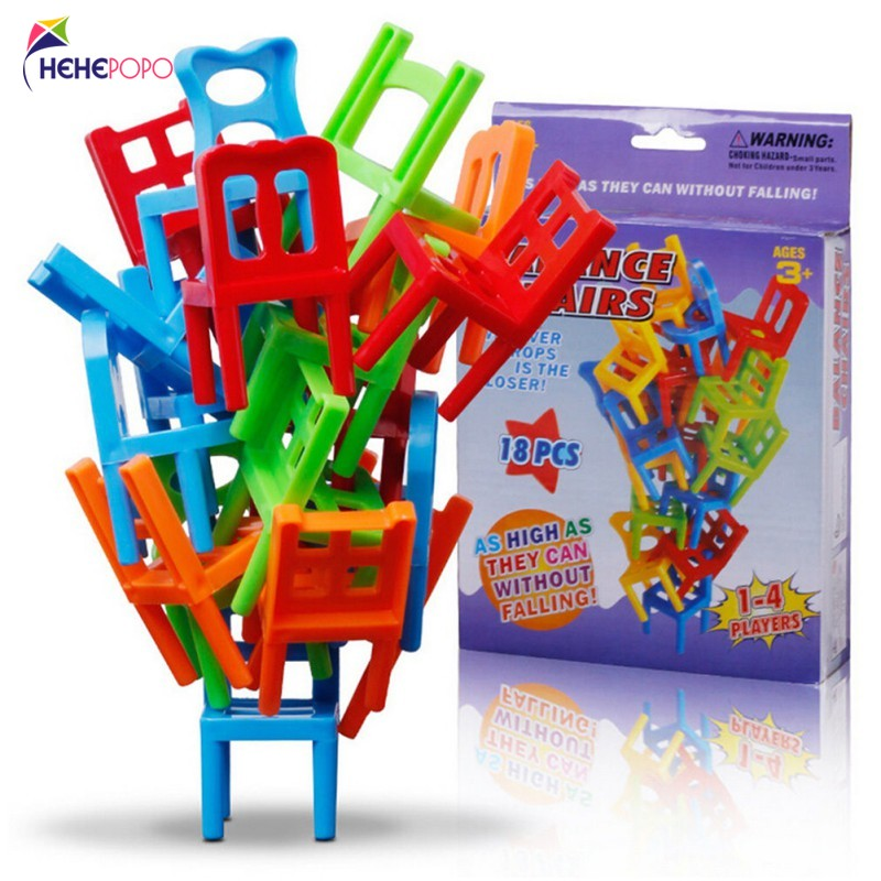 Hot Sale 18 Pcs / Set Balance Chairs Board Game Adult Kids Stacking Game Parent Child DIY Interactive Table Games Original Box