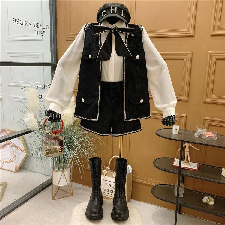 Small fragrance temperament celebrity suit women's spring new bow shirt vest High Waist Shorts fashion three piece set