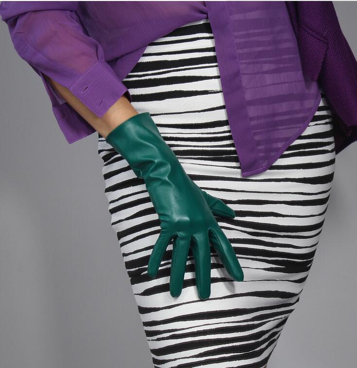 Women's Fashion Dark Green Sexy Faux Pu Leather Glove Lady's Club Performance Formal Party Leather Medium Long Glove 28cm R2211